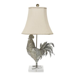 Antique Metal Rooster Lamp on Acrylic Base