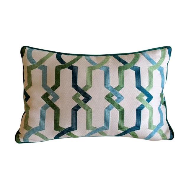 Custom Turquoise Mod Geometric Kidney Pillow - Image 1 of 6