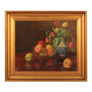 Robert Panitzsch Fruit and Floral Still Life, 1919 For Sale