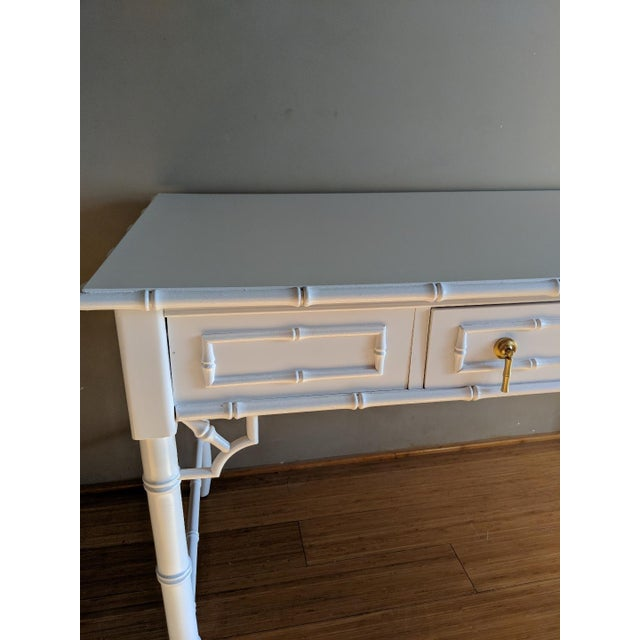 Asian 1970s Hollywood Regency Thomasville Allegro Faux Bamboo White Desk For Sale - Image 3 of 8