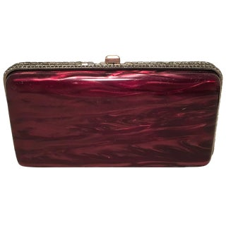 Judith Leiber Maroon Pearlized Box Clutch With Crystals For Sale