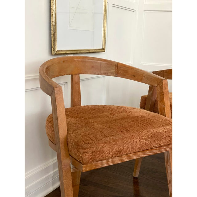 Wood Mid Century Modern Cerused Oak Sculptural French Chairs - a Pair For Sale - Image 7 of 11