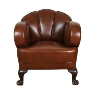 Chestnut Leather Club Chair For Sale