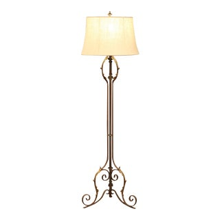 Early 20th Century French Iron Floor Lamp With Rusty Finish and Gilt Accents