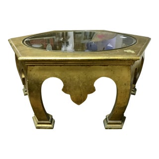 1970s Moroccan-Style Glass and Gold Leaf Coffee Table For Sale