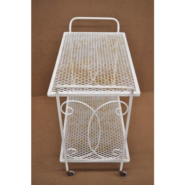 Vintage Wrought Iron Metal Mesh Patio Tea Cart For Sale - Image 9 of 12