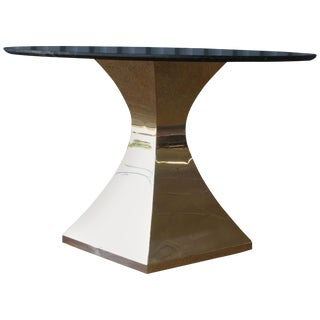 Dining Table With Quartz Stone Top on a Brass Plated Base For Sale