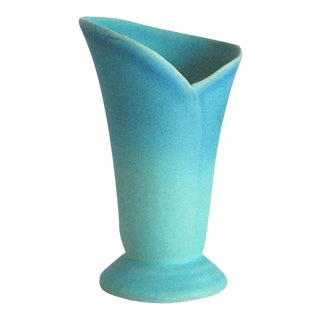 Mid-Century Modern Van Briggle Pottery Turquoise Wrap Vase For Sale