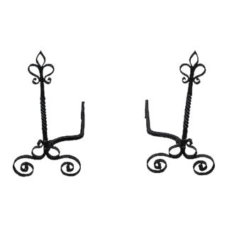Quality Pair of French Style Twist Column Andirons For Sale