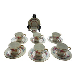 1900s C. Ahrenfeldt Limoges Demitasse and Saucers for Wright Tydale & Van Roden - Set of 6 For Sale