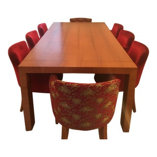 Wood Dining Table & Red Chairs