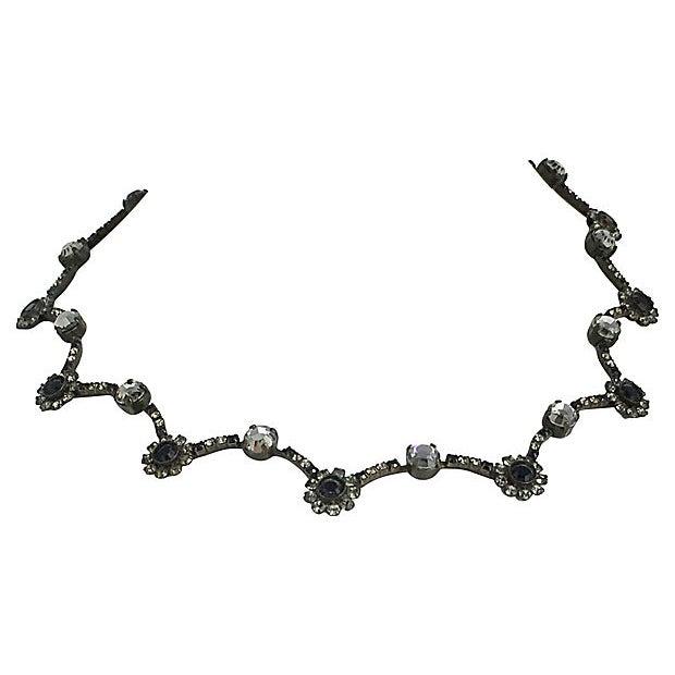 1990s Sorrelli Black & White Floral Necklace For Sale - Image 5 of 6