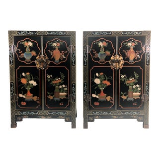 Pair of Black Lacquer Coromandel Chinese Export Cabinets For Sale