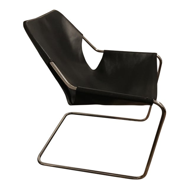 Paulistano Armchair in Black Leather & Stainless Steel ...
