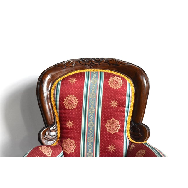 Red Antique Victorian-Style Upholstered Child's Chair For Sale - Image 8 of 11