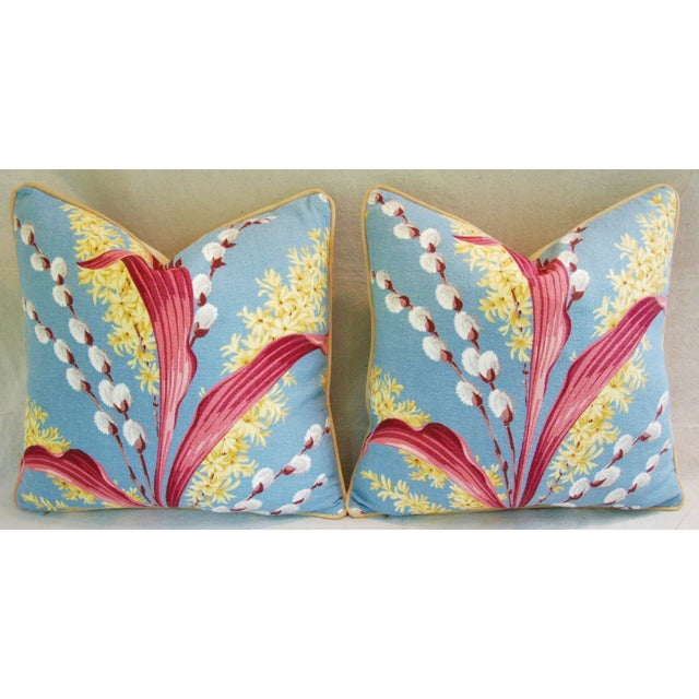 Vintage Tropical Floral Barkcloth Pillows - a Pair - Image 3 of 11
