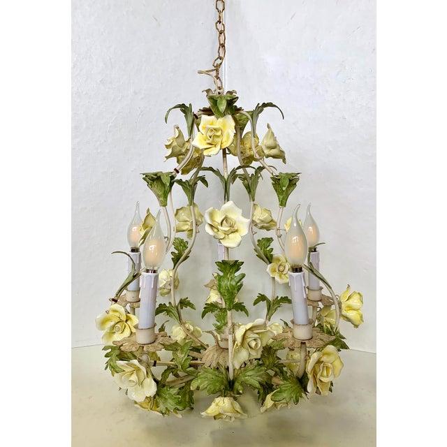1940s Italian Porcelain Floral Vintage Toile Chandelier For Sale - Image 4 of 12