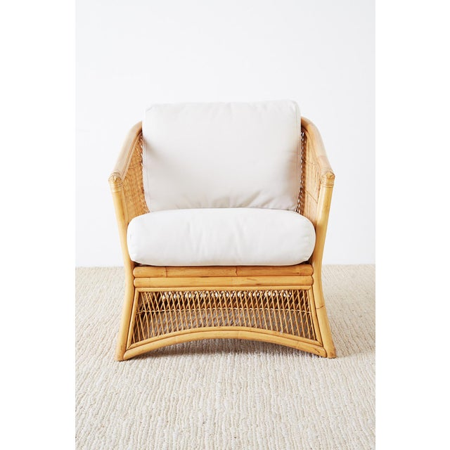 Hollywood Regency Midcentury Bamboo Rattan Wicker Lounge Chair For Sale - Image 3 of 13