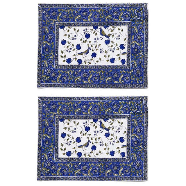 Birds On Vine Placemats Blue - A Pair For Sale - Image 4 of 4
