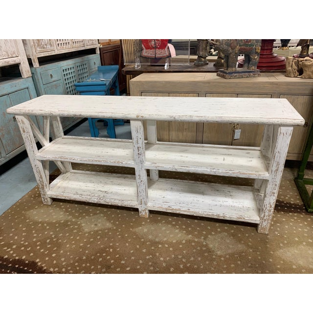 Shabby Chic Distresed White Shelving Unit For Sale - Image 3 of 8