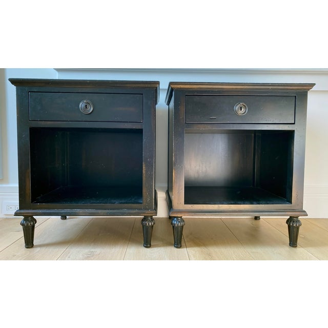 Metal Maison 18th Century French Inspired Ebonized Open Nightstands - a Pair For Sale - Image 7 of 7