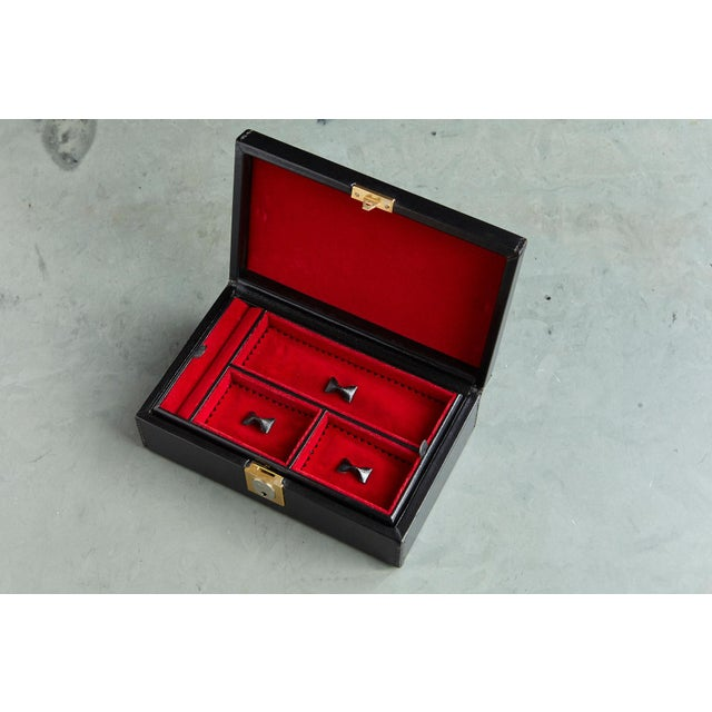 Leather Gucci Black Leather and Red Velvet Jewelry Box From the Collection of Ann Turkel For Sale - Image 7 of 13