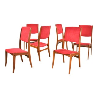 Mid Century Scandinavian Modern Set of Six Teak Dining Chairs With Red Ultrasuede For Sale