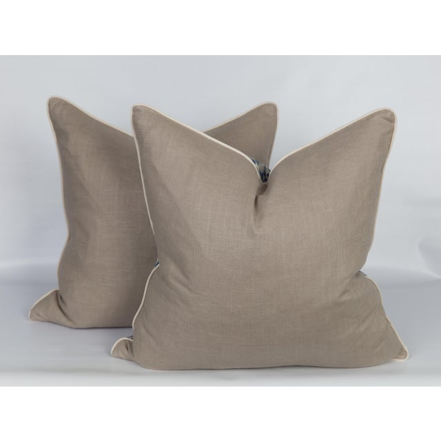 Blue and Gray Leopard Linen Blend Pillows, a Pair For Sale - Image 4 of 5