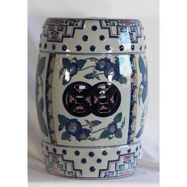 Modern Contemporary Blue & White Floral Porcelain Garden Stool For Sale - Image 4 of 7