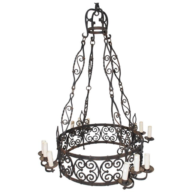 French French 1930s Wrought Iron Chandelier For Sale - Image 3 of 3
