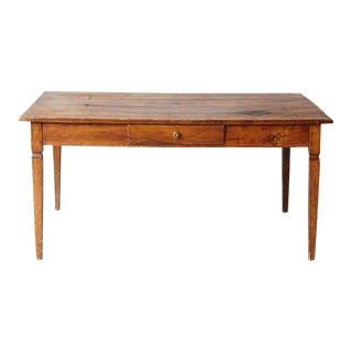 19th Century Italian Country Pine Farm Table With Drawer For Sale