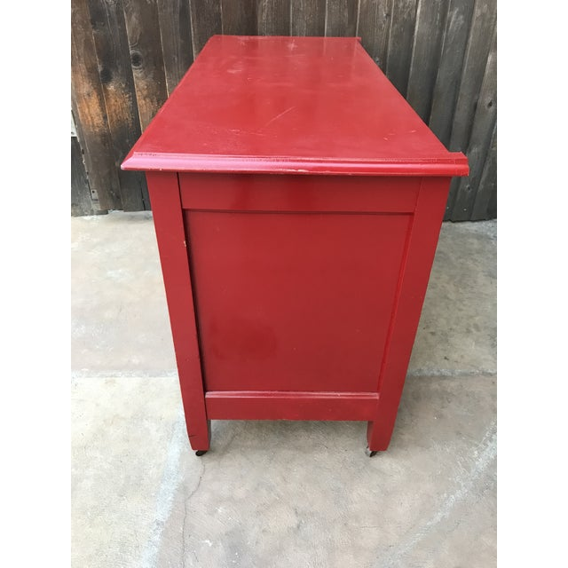 Candy Apple Red Four Drawer Buffet - Image 3 of 8