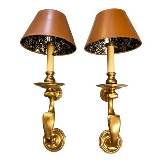 20th Century Brass Sconces by Chapman with Shades - a Pair For Sale