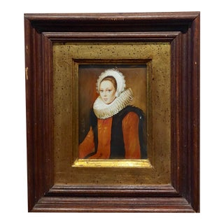 Ida Calzolari Portrait of a 16th Century Aristocratic Woman W/Ruff Collar - Original Painting For Sale