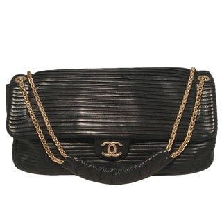 Chanel Black Pleated Leather Classic Flap Shoulder Bag For Sale