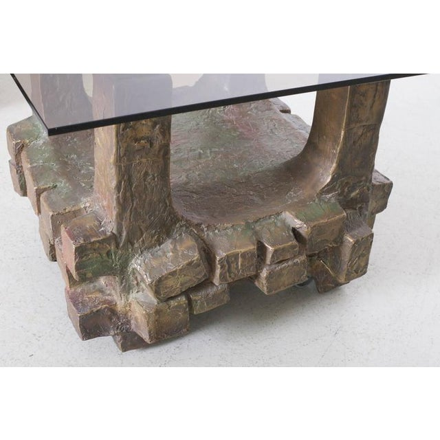 1960s Unique Pair of Brutalist Bronze Side Tables in the Manner of Paul Evans For Sale - Image 5 of 7