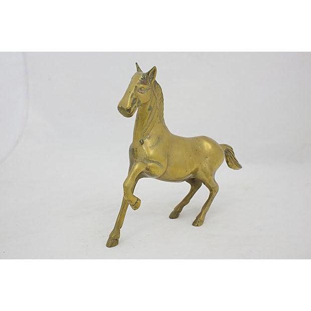 Mid-century solid brass stallion. No maker's mark. Minimal tarnish.