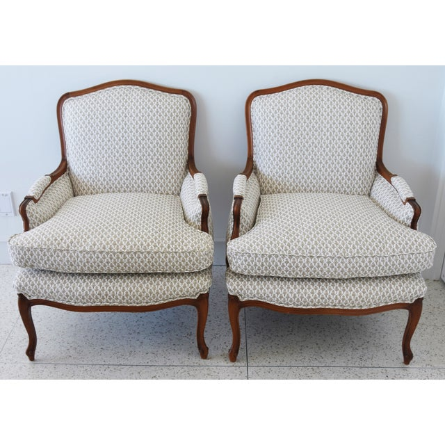 Pair of vintage hardwood walnut French-style bergeres with beautiful cabriole legs newly upholstered in a new/never used...
