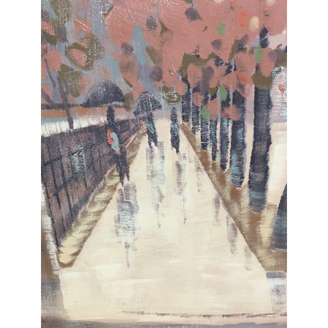 Mid-Century Modern Lee Reynolds Original Oil Painting Rainy Cityscape For Sale - Image 3 of 8