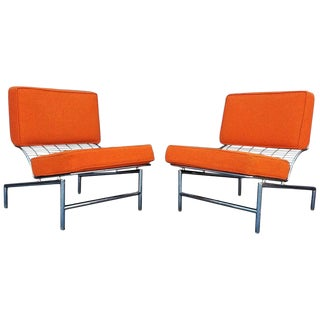 Postmodern Italian Chrome Lounge Chairs- A Pair For Sale