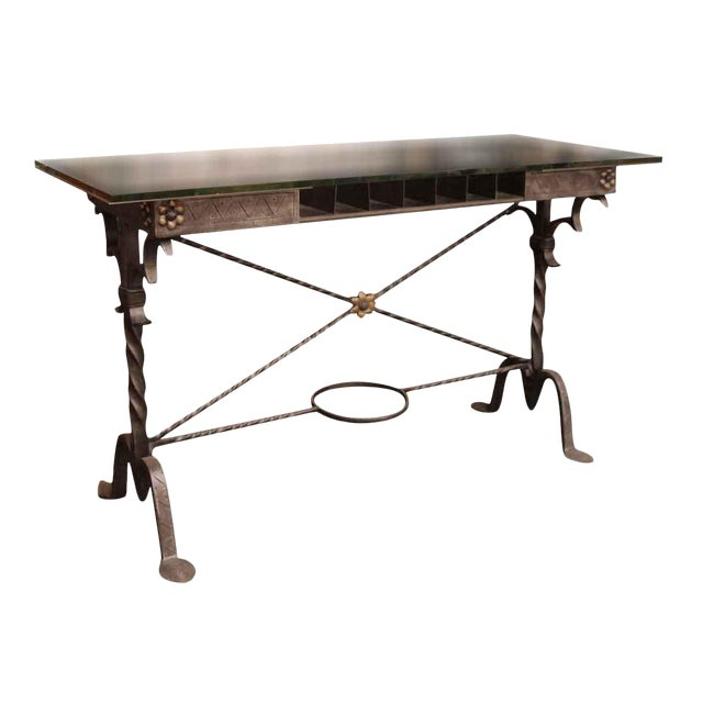 1920s Traditional Samuel Yellin Wrought Iron Bank Table For Sale