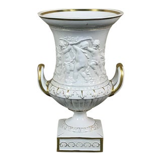 Vieux Paris Gold & White Embossed Vase, 19th Century For Sale