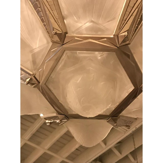Geometric French Art Deco Chandelier Signed by Des Hanots For Sale - Image 9 of 11
