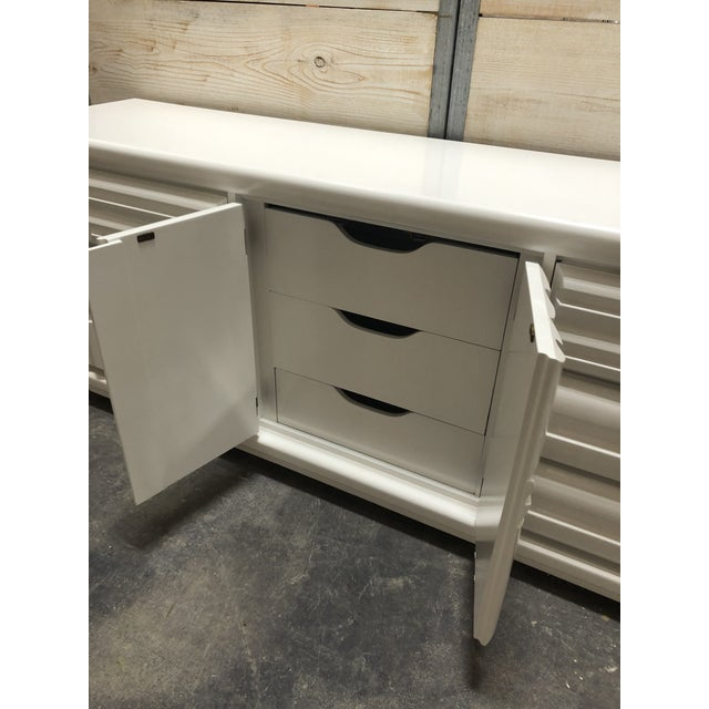 Wood Midcentury Brutalist Lacquered Credenza by Lane For Sale - Image 7 of 8