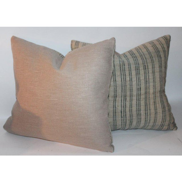 These early homespun striped linen pillows have natural tan cotton linen backings. The Dimensions H 17 in. x W 17 in. x D...