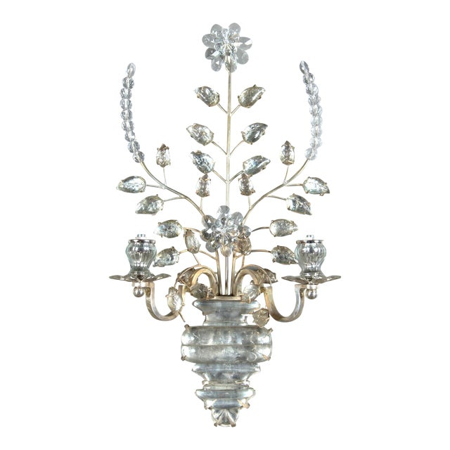Circa 1930 French silver plated sconces; $5800 list pair; four pairs available (8 total).