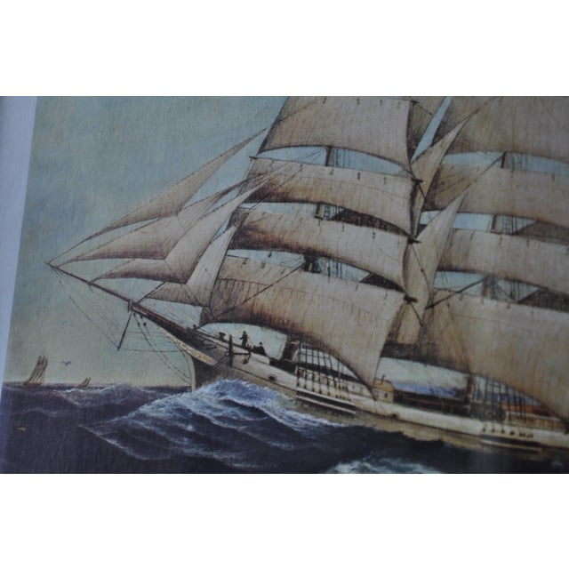 Vintage Nautical Ship Prints in Bamboo Frames - a Pair For Sale In Portland, OR - Image 6 of 7