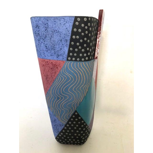 Memphis Styled, Ceramic Art Vase, Signed Madelyn T. For Sale - Image 4 of 8