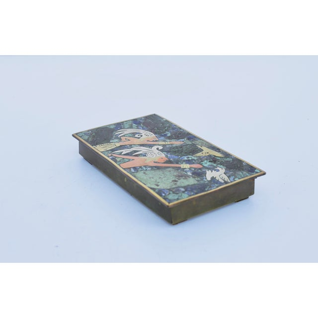 Mid-Century Modern Mexican Mixed Metals & Stone Box For Sale - Image 3 of 4