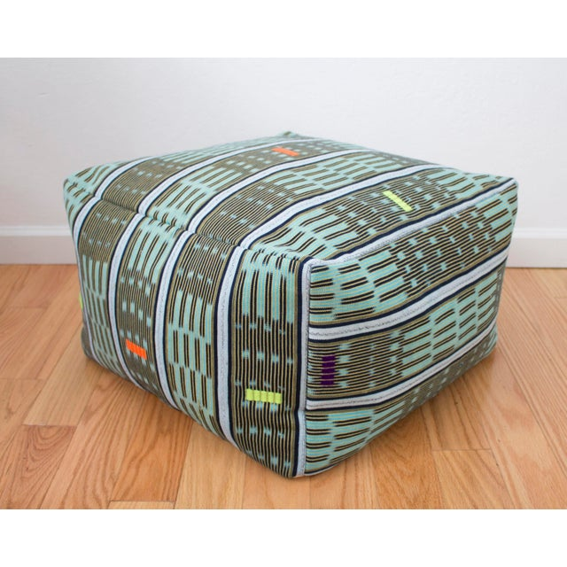 African Vintage African Baule Cloth Pouf For Sale - Image 3 of 8